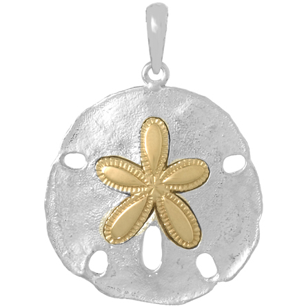 Sterling Silver 35mm Sand Dollar Pendant with 14kt Gold Star