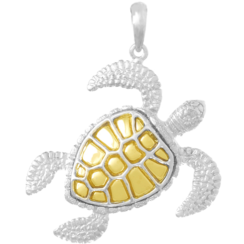Sterling Silver 1 1/4in Sea Turtle Pendant with 14kt Gold Shell
