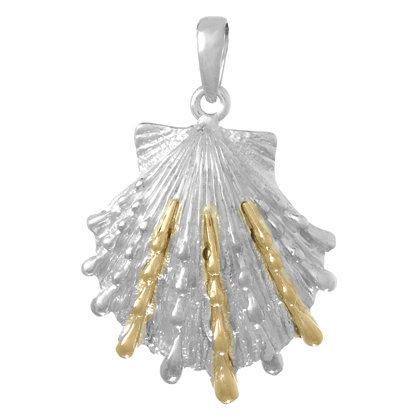 Sterling Silver 1in Lion's Paw Shell Pendant with 14kt Gold