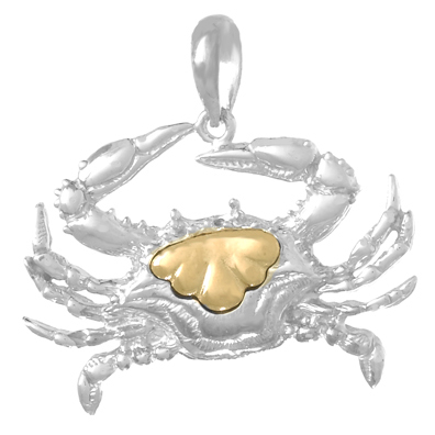 Sterling Silver 7/8in Crab Pendant with 14kt Gold Center