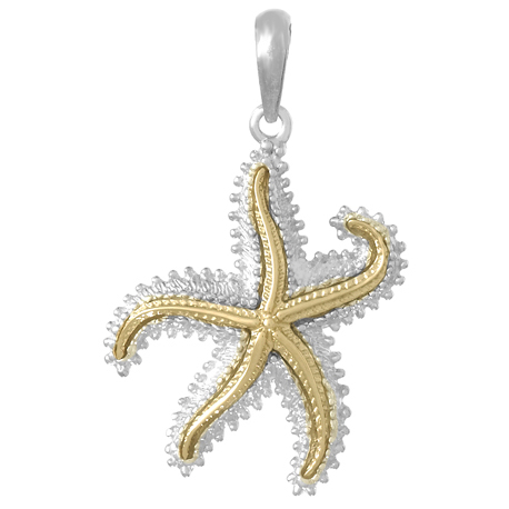Sterling Silver 1 1/8in Dancing Starfish Pendant with 14kt Gold Center