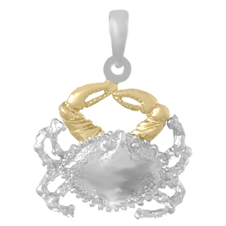Sterling Silver 3/4in Crab Pendant with 14kt Gold Claws