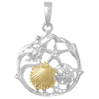 Sterling Silver 3/4in Shell Cluster Pendant with 14kt Gold Shell