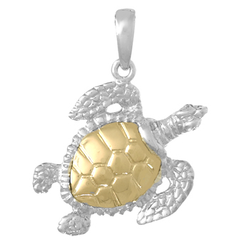Sterling Silver 3/4in Sea Turtle Pendant with 14kt Gold Shell