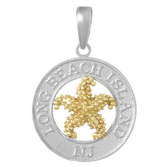Sterling Silver 3/4in Long Beach Island Pendant with 14kt Gold Starfish