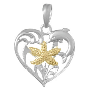 Sterling Silver 3/4in Heart Pendant with 14kt Gold Starfish