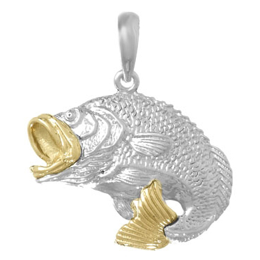 Sterling Silver 3/4in Bass Fish Pendant with 14kt Gold Accents