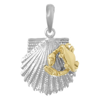 Sterling Silver 3/4in Shell Pendant with 14kt Gold Crab