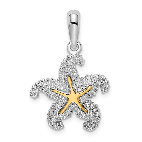Sterling Silver 3/4in Starfish Pendant with 14kt Gold Center