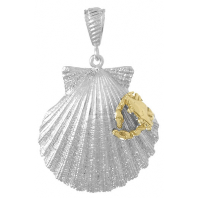 Sterling Silver 1 1/8in Scallop Shell Pendant with 14kt Gold Crab