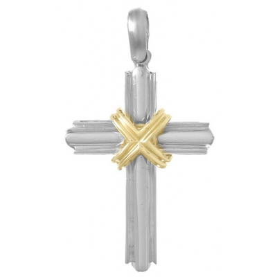 46mm Sterling Silver Cross Pendant with 14kt Yellow Gold Accents
