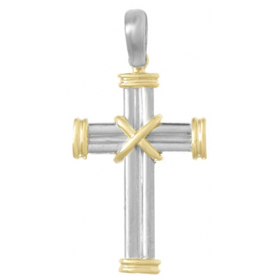 36mm Sterling Silver Cross Pendant with 14kt Yellow Gold Accents