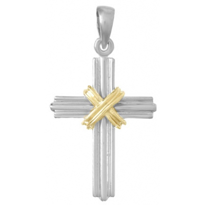 32mm Sterling Silver Cross Pendant with 14kt Yellow Gold Accent