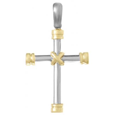 40mm Sterling Silver Cross Pendant with 14kt Yellow Gold Accent