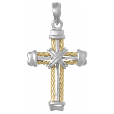 33mm Sterling Silver Cross Pendant with 14kt Yellow Gold Accent