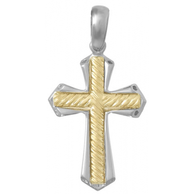 37mm Sterling Silver Cross Pendant with 14kt Yellow Gold Center