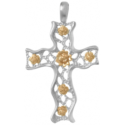 51mm Sterling Silver Fashion Cross Pendant with 14kt Yellow Gold Roses