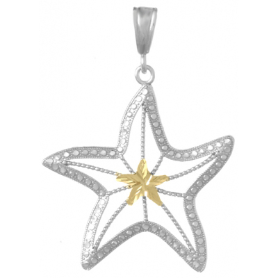 Sterling Silver 1 3/8in Beaded Starfish Pendant with 14kt Gold Center