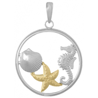 Sterling Silver 7/8in Sea Life Pendant with 14kt Gold Starfish