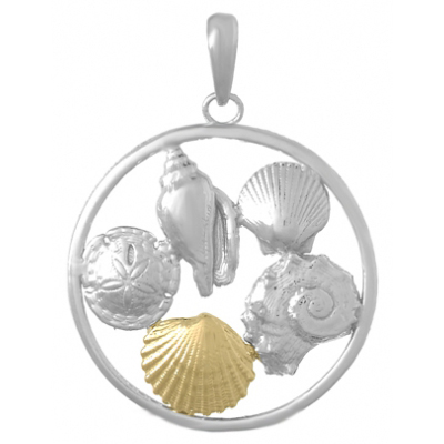 Sterling Silver 1in Sea Cluster Pendant with 14kt Gold Shell