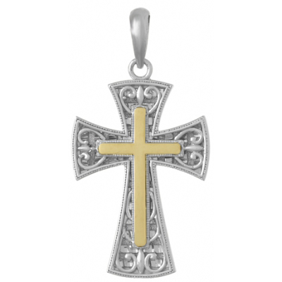 35mm Silver Filigree Cross Pendant with 14kt Yellow Gold Center