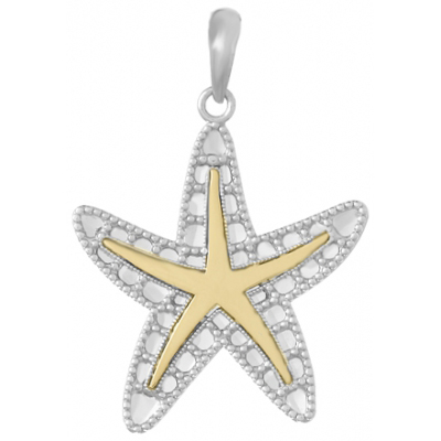 Sterling Silver 1in Filigree Starfish Pendant with 14kt Gold Accent