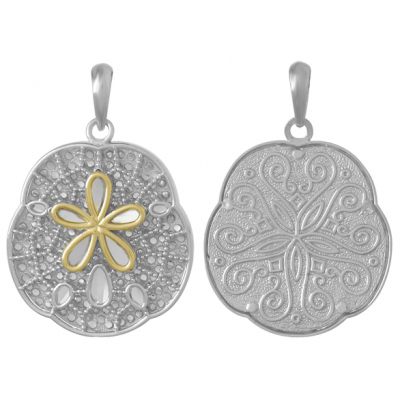 Sterling Silver 1in Filigree Sand Dollar Pendant with 14kt Gold