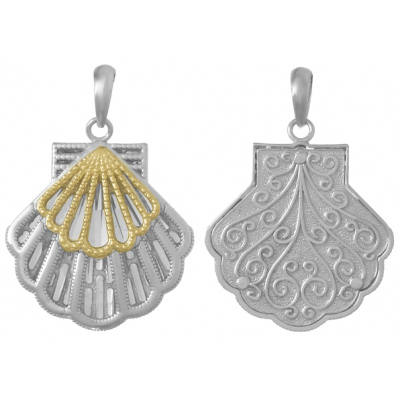 Sterling Silver and 14kt Gold 1in Scallop Shell Pendant