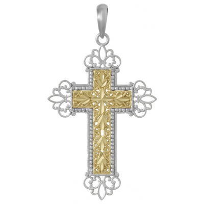 45mm Silver Floral Cross Pendant with 14kt Yellow Gold Center