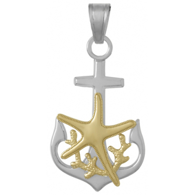 Sterling Silver 1 1/4in Anchor Pendant with 14kt Gold Accents