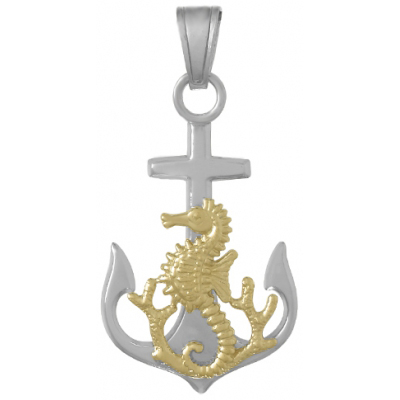 Sterling Silver 1 1/4in Anchor Pendant with 14kt Gold Seahorse and Coral