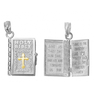 Sterling Silver Holy Bible Pendant with 14kt Yellow Gold Cross