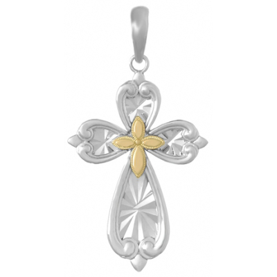 36mm Silver Starburst Cross Pendant with 14kt Yellow Gold Center