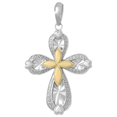 Sterling Silver Starburst Cross with Hearts 14k Yellow Gold Center