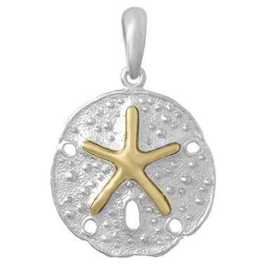 Sterling Silver 3/4in Sand Dollar Pendant with 14kt Gold Center