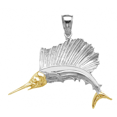 Sterling Silver 1in Jumping Swordfish Pendant with 14kt Gold
