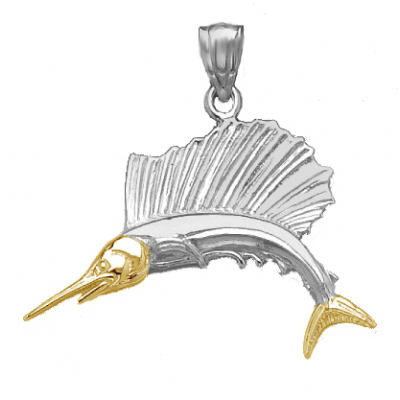 Sterling Silver 3/4in Swordfish Pendant with 14kt Gold Face