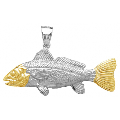 Sterling Silver 7/8in Red Drum Fish Pendant with 14kt Gold