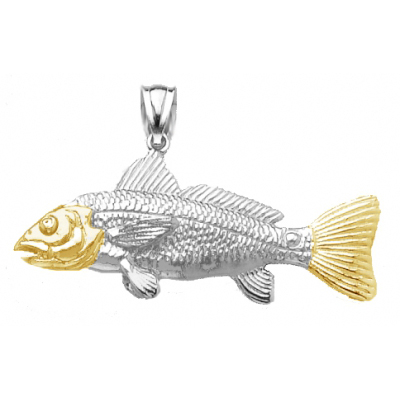 Sterling Silver 5/8in Red Drum Fish Pendant with 14kt Gold