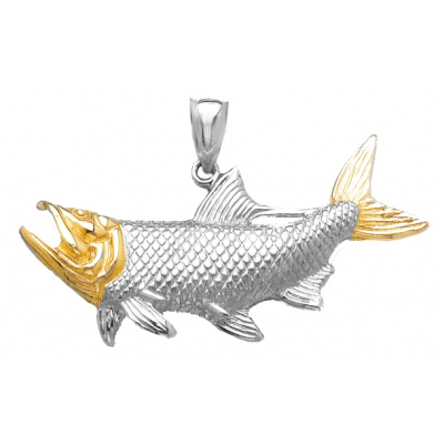 Sterling Silver 7/8in Tarpon Fish Pendant with 14kt Gold