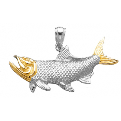 Sterling Silver 3/4in Tarpon Fish Pendant with 14kt Gold