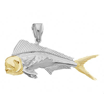 Sterling Silver 3/4in Mahi-Mahi Fish Pendant with 14kt Gold
