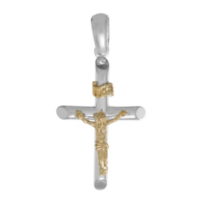 Sterling Silver and 14kt Yellow Gold 1in Crucifix Pendant
