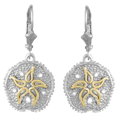 Sterling Silver Sand Dollar Leverback Earrings with 14kt Gold