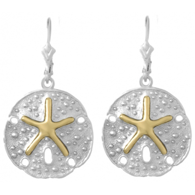 Sterling Silver Sand Dollar Earrings with 14kt Gold Starfish