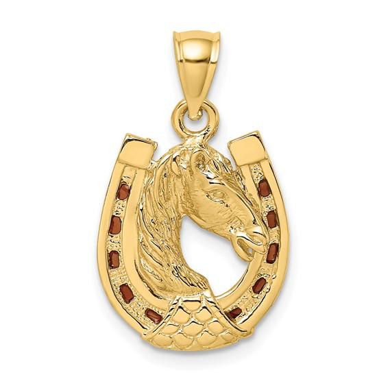 14kt Yellow Gold 16mm Enamel Horseshoe Pendant