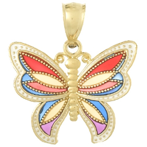 14kt Yellow Gold 20mm Enamel Butterfly Pendant