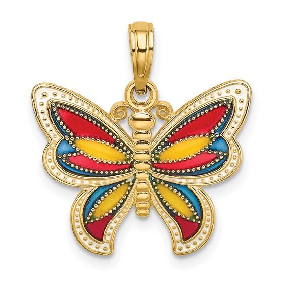 14kt Yellow Gold 20mm Enamel Butterfly Pendant