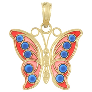 14kt Yellow Gold 19mm Translucent Enamel Butterfly Pendant