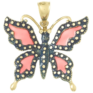 14kt Yellow Gold 19mm Pink Enamel Butterfly Pendant